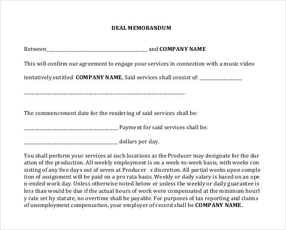 deal memo templates sample example format sample for deal memo between emplyee and c y