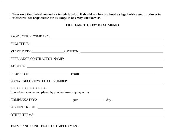 freelance deal memo template example format