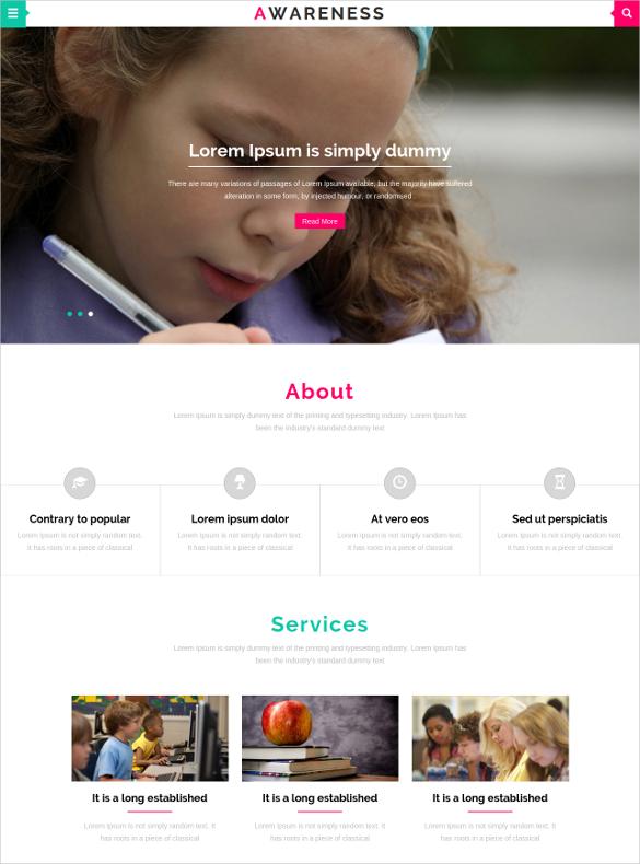 education awareness school bootstrap website template