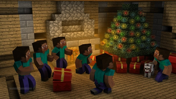 christmas minecraft background download