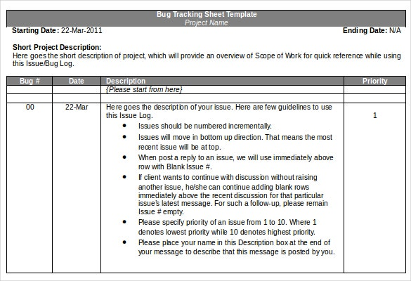 bug tracking sheet template sample download