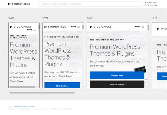 studiopress responsive testing tool for free