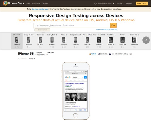 browser stack responsive design testing across devices