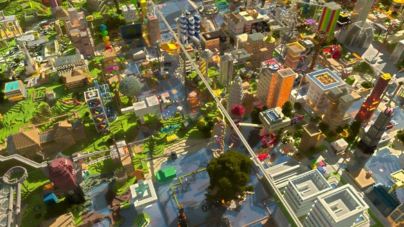 minecraft city background download