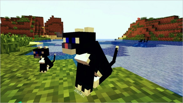 cats sitting at a lake minecraft download