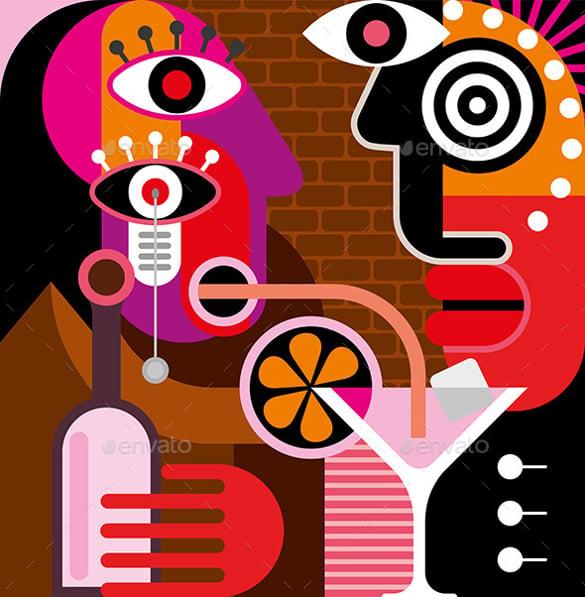 man and woman at the bar vector artwok download