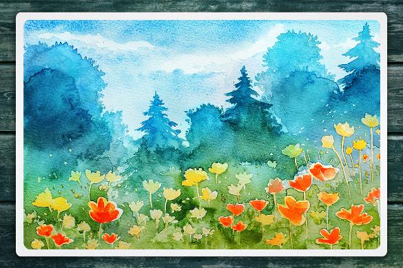 watercolor vector landscape vector artwork download