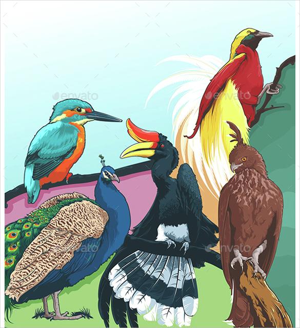 5 high detailed bird vector artwork illustrator download