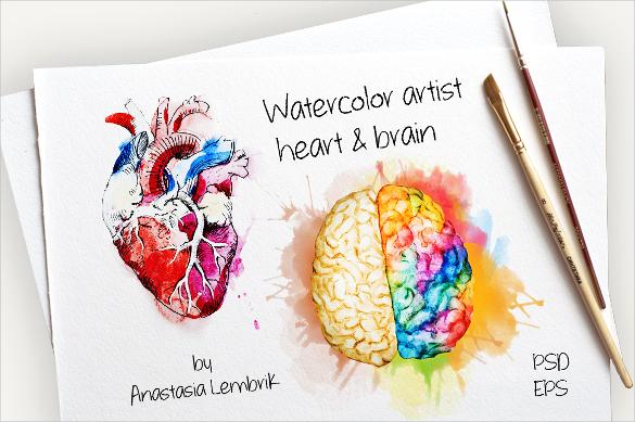 watercolor heart brain vector artwork download