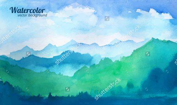 mountain watercolor vector artwork download