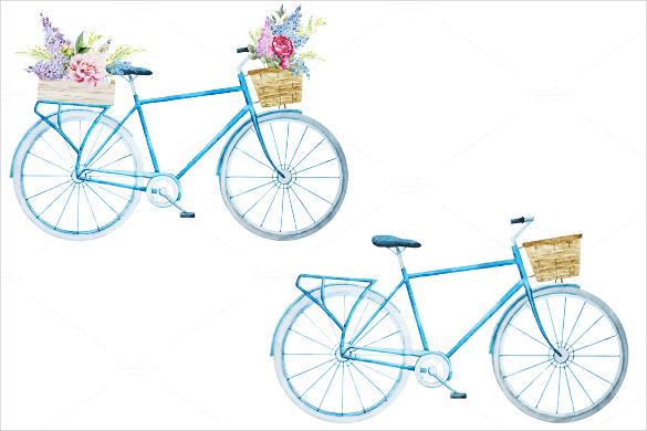 watercolor vector bicycle vector artwork download