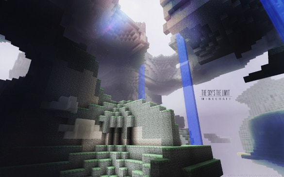 blue minecraft background download