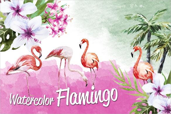 tropic flamingo watercolor artwork vector download
