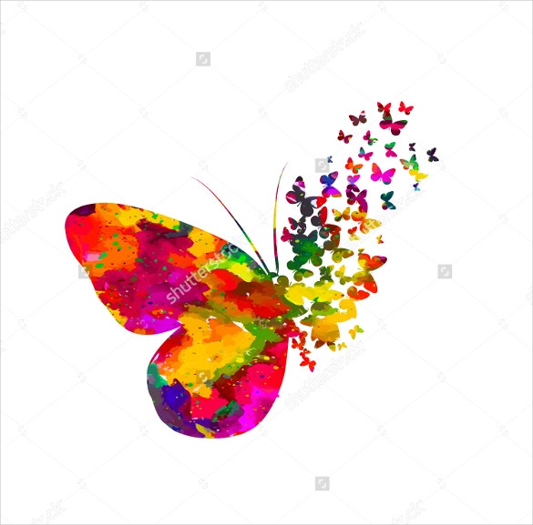 colorful abstract watercolor butterfly vector artwork download