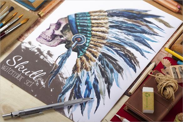 native american watercolor hat vector download