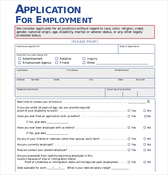 Application For Employment Examples – Application for Employment