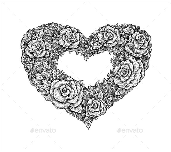 vintage style ink floral heart frame eps download