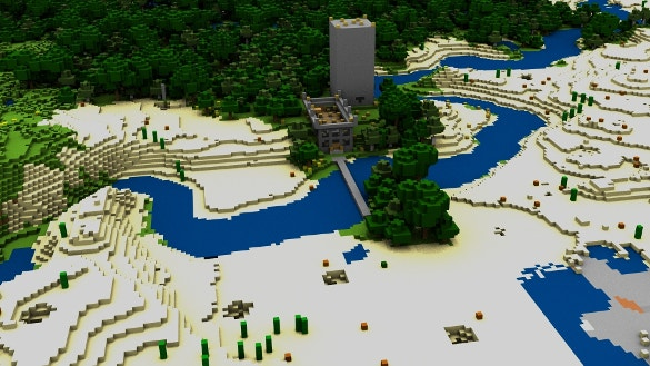 minecraft house bridge river background download
