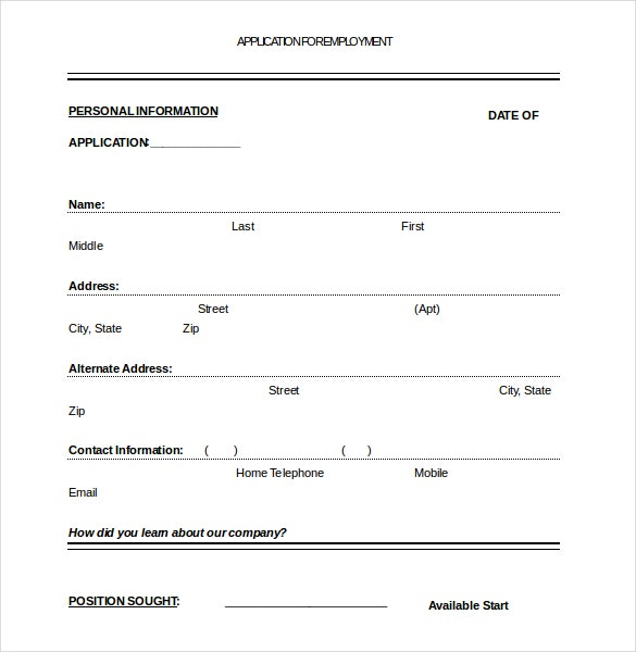 Free Printable Employement Application Docement  Application For Employment Template Free