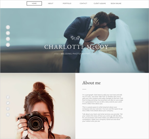 free wedding photography wix template