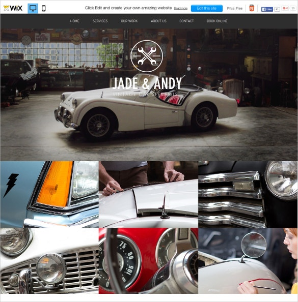 free wix template for vintage car garage
