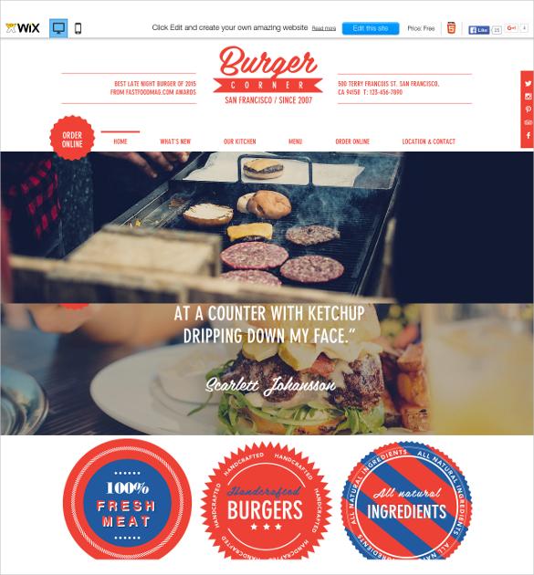 free burger corner wix template
