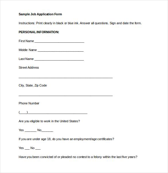 Basic Job Application Template – Basic Employment Application