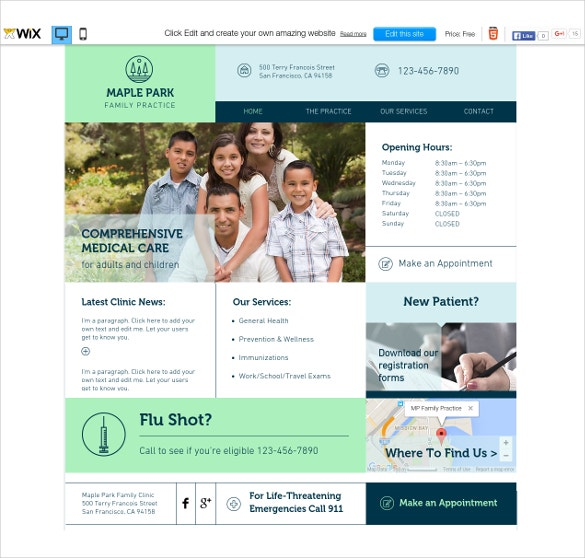free family medical care wix template