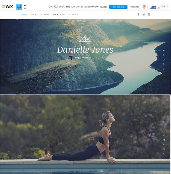 free yoga instructor wix template