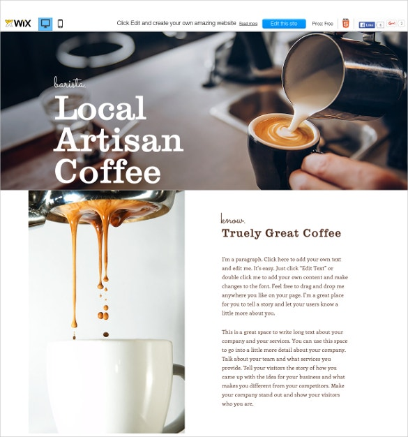 free coffee house wix template