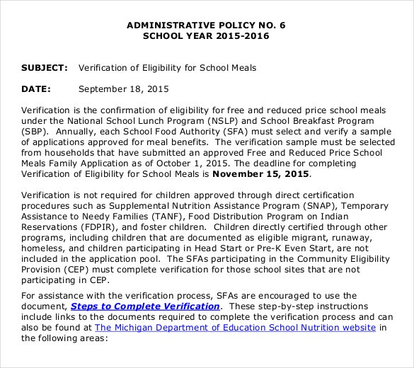 education policy memo template example format download