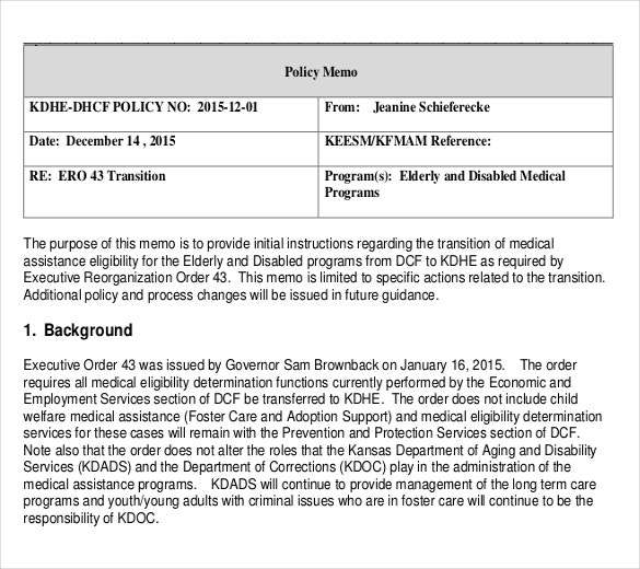 medical policy memo template free example download