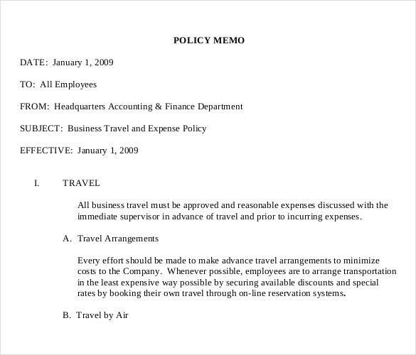 business travel expense polocy memo pdf document download1