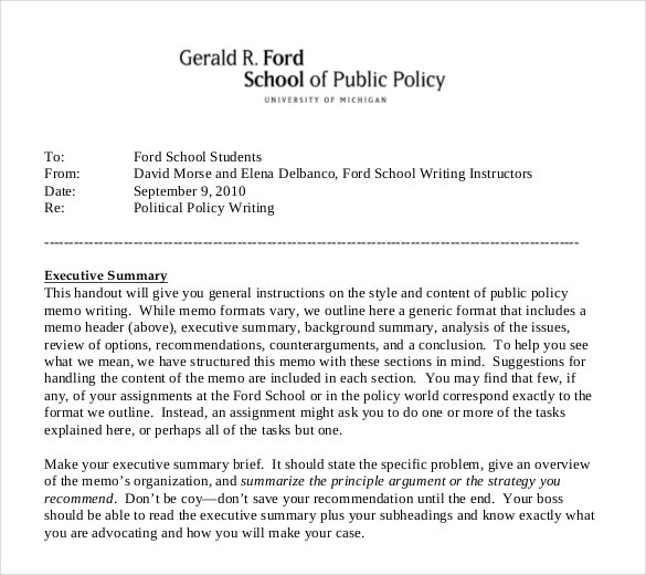 Sample Policy Memo. The Recommendations Range From Broad; 2 New