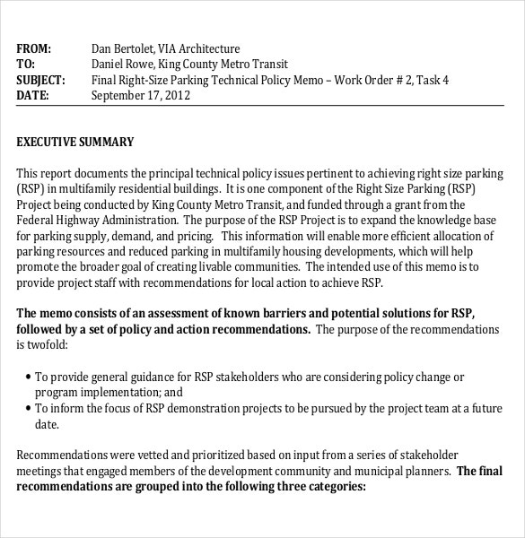 Professional Policy Memo Sample Template Download