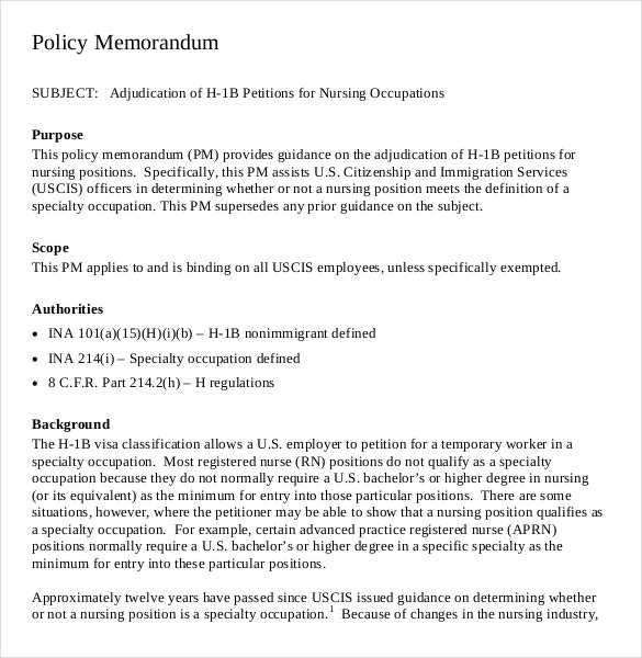 Policy Memo Templates  Free Sample Example Format Download