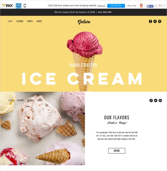 free ice cream parlor wix theme