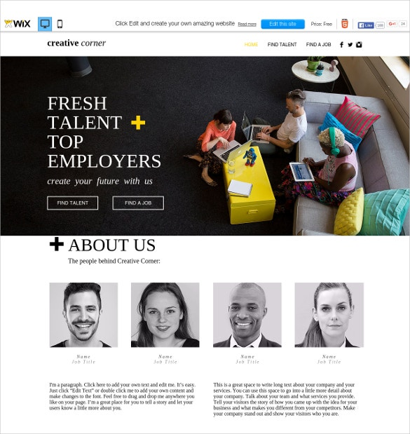 free creative staffing agency wix theme