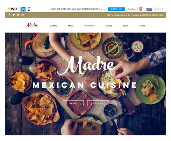 free mexican restaurant wix theme