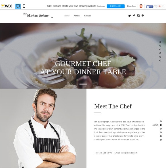 free private chef wix theme
