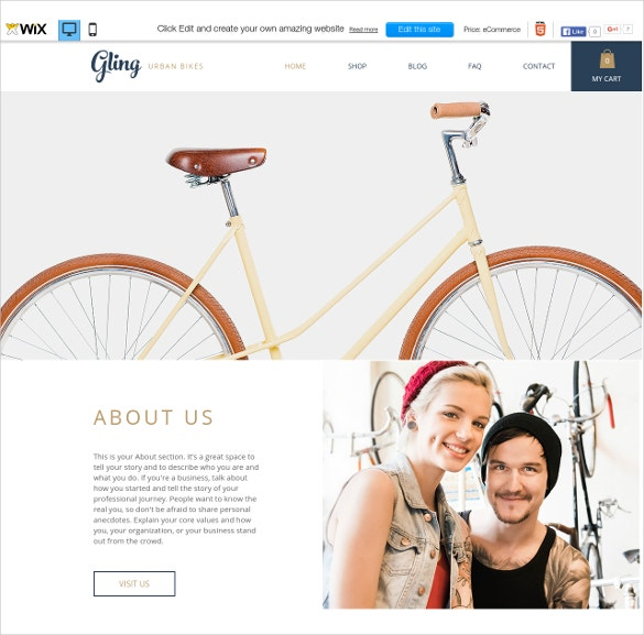 free bicycle store wix theme
