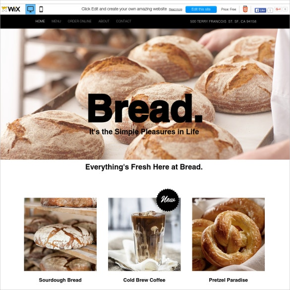 free bread shop wix theme