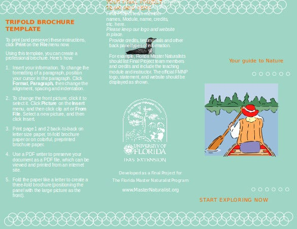 Naturalist Program Trifold Brochure Template Word Doc Download