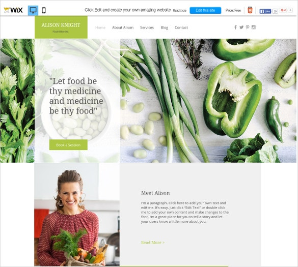 free diet food wix theme