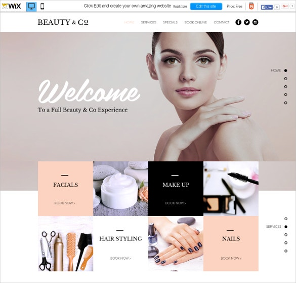 free beauty salon wix theme