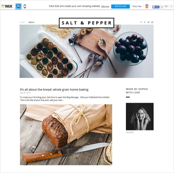 free taste food blogger wix theme