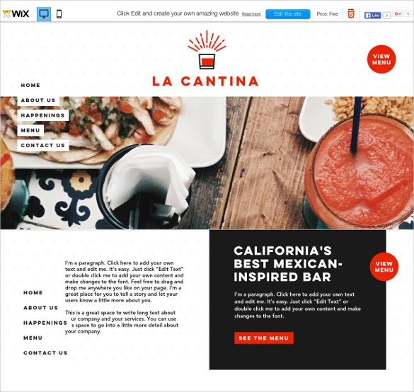 free mexican bar wix theme