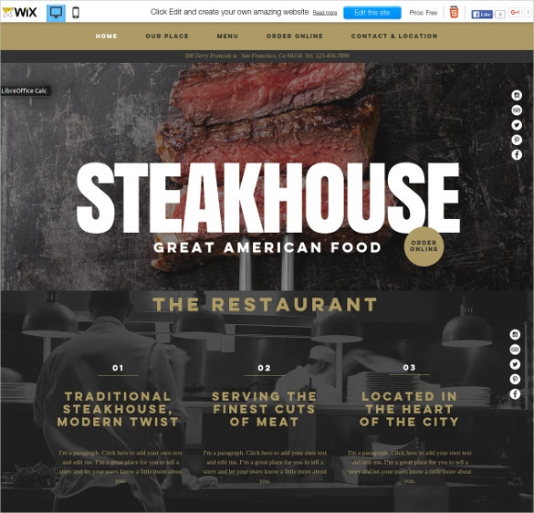 free wix theme for american food