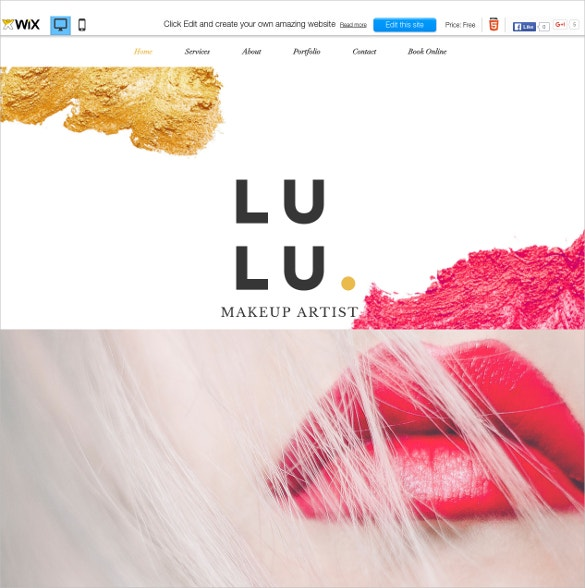 free wix theme for professional makeup