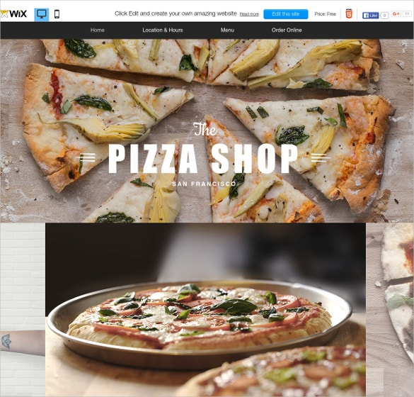 free pizza restaurant wix theme